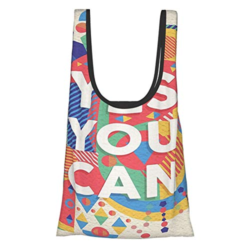 T-shop Quotes Decor Collection Yes You Can Colorful Typographical Poster Style Art Positive Encouraging Quote Bej Blue Light Reusable Fold Eco-Friendly Shopping Bags