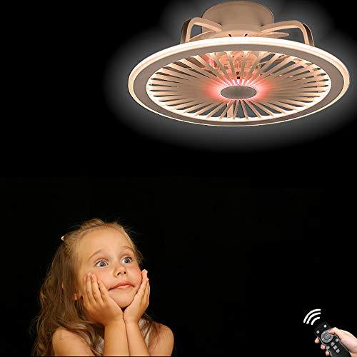 40W Ventilador De Techo Con Luz Y Control Remoto, Ventilador Silencioso Creativo Sigiloso Velocidad Del Viento Ajustable Lámpara De Techo LED Regulable