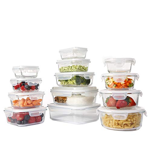 Doonmi - Glass Food Storage Containers with Lids, [13 Piece] Glass Meal Prep Containers, Glass Containers for Food Storage with Lids, BPA Free & Leak Proof, Microwave, Freezer, Dishwasher, Oven Safe.