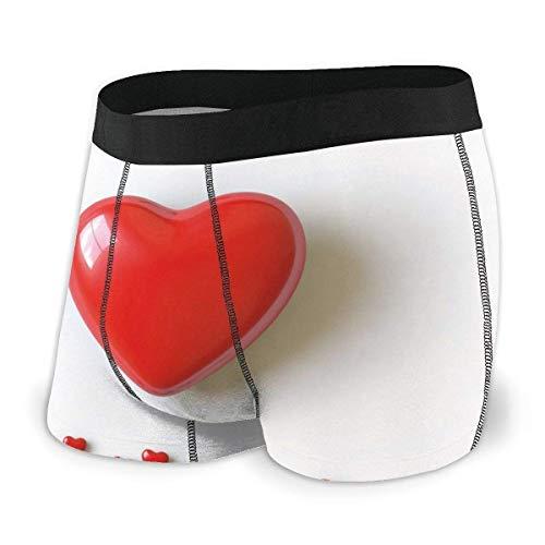 liusizheree Herren Boxer Briefs, Illustration des Valentinstags Herz zwischen Wörtern mit herzförmiger Schrift