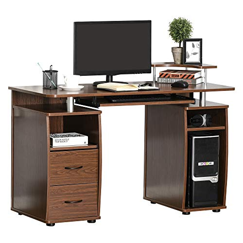 HOMCOM Mesa de Ordenador PC Mesa Escritorio con Múltiples Estantes Bandeja de Teclado Soporte CPU y 2 Cajones para Oficina 120x55x85 cm Marrón