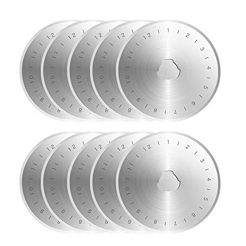 Gasea 10pcs Cuchillas de Corte Circular, Cuchilla de Corte Rotativa de 45 mm, Rotary Cuchillas de Corte, Corte de Cuero para cortadoras rotativas extraafiladas 45 mm - Plata