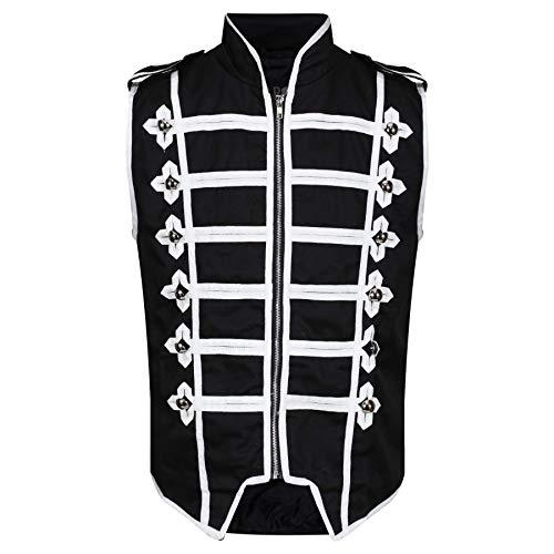 Ro Rox Men's Marching Band Vest Drummer Sleeveless Parade Jacket - Black & White (L)