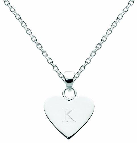 Dew Womens Sterling Silver Heart Initial K Necklace 9091HPK, 18'