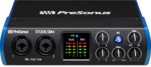 PreSonus Studio 24c 2x2, 192 kHz, USB-C Audio Interface, 2 Mic Pres - 2 Line Outs/New Version (
