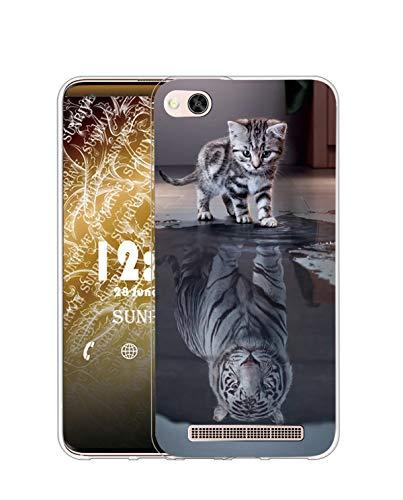 Sunrive Kompatibel mit Xiaomi Mi 4c Hülle Silikon, Transparent Handyhülle Schutzhülle Etui Hülle (TPU Tiger Katze)+Gratis Universal Eingabestift MEHRWEG