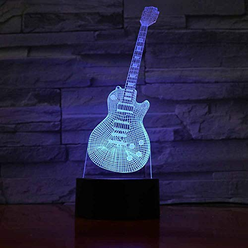 Only 1 Piece Guitar LED Night Lamp 3D Illusion Night Light Touch Control 7 Colors Change USB Charger Creative Crafts Atmosphere fixtures