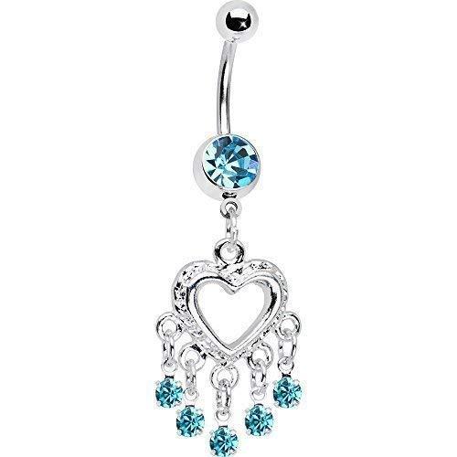 BodyCandy Love Drops Blue Heart Chandelier Navel Belly B