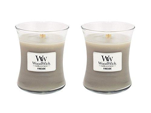 Set of 2 WoodWick Fireside Medium Jar Hourglass Candles bundled by Maven Gifts