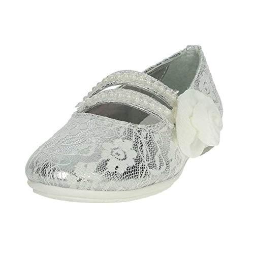 Asso Scarpe da Bambina Ballerina Pelle e Tessuto Argento AG-517-SILV