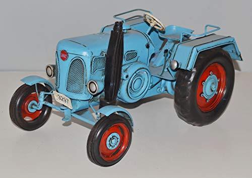 JS GartenDeko Blechtraktor Nostalgie Modellauto Oldtimer Marke Lanz Bulldog Traktor D 1906 Modell aus Blech L 26cm