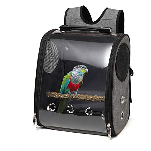Bird Parrot Backpack Carrier Travel Bag with Perch Stand for Parakeets Cockatiels Conures Finches Lovebirds Small Medium Birds Cage Outside Airlines Airplane Plane Approved Car Lightweight Transparent