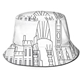 huatongxin Unisex Fisherman Cap,Geometric Drawn Outline of The City Business Lifestyle Urban Scene,Travel Beach Hat