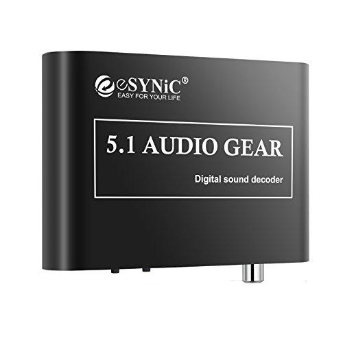 ESYNiC Digital a Analógico Adaptador de 5.1 Audio Decodificador de Sonido Gear SPDIF RCA Dolby AC3 DTS Óptico Coaxuak Entrada- Perfecto para HDTV DVD Player Blue Rey DVD SP3 Xbox 360 etc