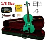 Merano 1/8 Size Green Violin with Case and Bow+Extra Set of Strings, Extra Bridge, Shoulder Rest, Rosin, Metro Tuner, Black Music Stand, Mute