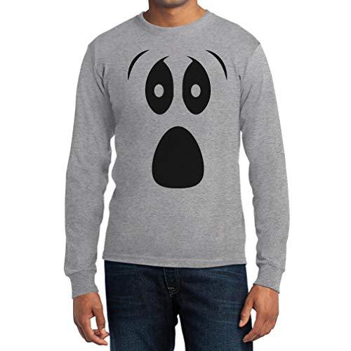Grusel Kostüm Halloween Kostüme Langarm Shirt mit Ghost Face Langarm T-Shirt Large Grau