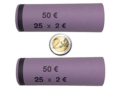 3709 MÜNZHÜLSEN - Münzrollenpapier vorgefertigt und gerollt für 2 Euro (128er Pack) A