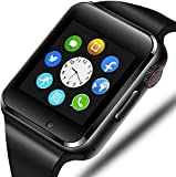321OU Smart Watch Compatible iOS iPhone Android Samsung LG, Touchscreen Bluetooth Smartwatch Fitness Watch with SIM SD Card Slot Camera Pedometer for Men Women (Black)