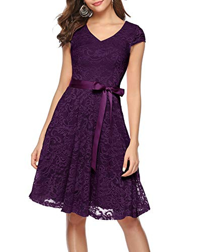 BeryLove Damen V-Ausschnitt Kurz Brautjungfer Kleid Cocktail Party Floral Kleid BLP7006GrapeL
