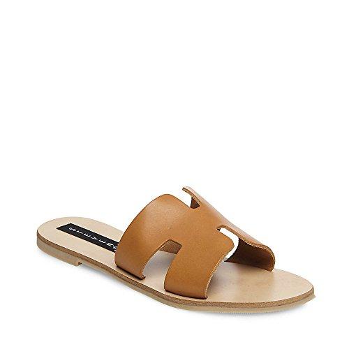 STEVEN by Steve Madden Women's Greece Flat Sandal, Cognac Leather, 8 M US