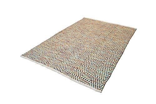 One Couture Tapis en Laine Tapis Laine Aztèques Motif Aztec Scandi Design Rose Bleu - Rose, 80cm x 150cm