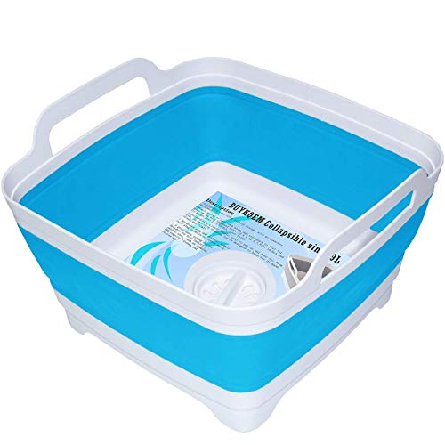 DUYKQEM Dish Basin Collapsible with Drain Plug Carry Handles for 9 L Capacity,Collapsible Sink,Dish Washing Basin,Portable Dish Sink,Foldable Dishpan for Camping Dish Washing Tub and RV Sink