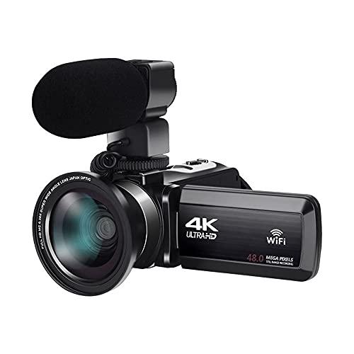 MKIU Videocamera con Microfono, Videocamera Digitale 4k Ultra HD 30mp WiFi DV con Sensibilità Automatica Touch Screen con Rotazione di 270 Gradi Fotocamera con Zoom Digitale 16x