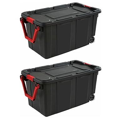 Sterilite 40-Gallon/151-Liter Wheeled Industrial Tote in Black, Case of 2 (40-Gallon)