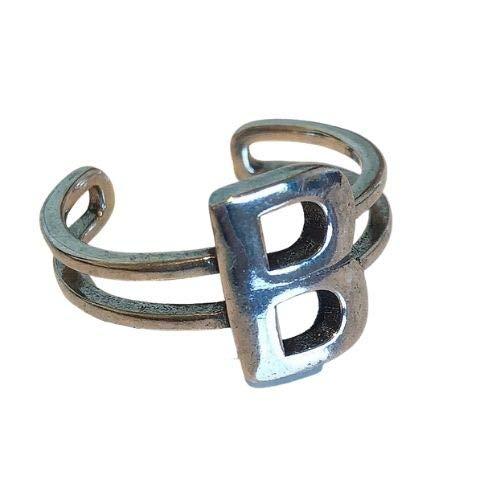 DEMI LOUS. 指輪 おしゃれ オープンリング メンズ レディース サイズ調整可能 真鍮 925シルバーコーティング (M- letter-B)