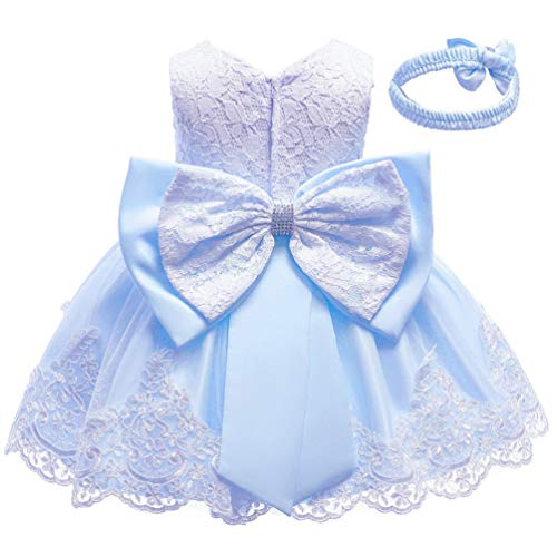 KILO&METERS Blue Formal Prom Summer Wedding Girls Dresses A-line Sleeveless Knee Length Tutu Ruffle Kids Dress Princess Christeing Birthday Party Baby Dress 3T Light Blue
