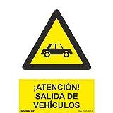 RD30076 - Señal ¡Atención! Salida De Vehículos PVC Glasspack 0,7 mm 21x30 cm con CTE, RIPCI Nueva Legislación