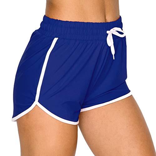 ALWAYS Women Lounge Yoga Shorts - Premium Soft Stretch Dolphin Short Striped Pants Royal Blue M