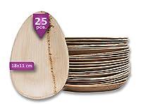 waipur piatti in foglia di palma biologici – 25 piatti ovali 18 cm – piatti usa e getta biodegradabili di alta qualità – leggeri ma resistenti – stoviglie monouso compostabili