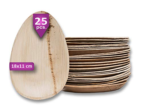 Waipur Platos Hoja de Palma Orgánicos – 25 Platos Desechables Ovalados 18 cm - Vajilla Ecológica de Lujo, Estable, Natural y Compostable - Platos de Fiesta – como Platos Bambú