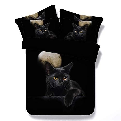 3D Cat Bedding Set Single Double King Size Super King Duvet Cover Pillowcase, Chat Noir Lune, 230x260cm