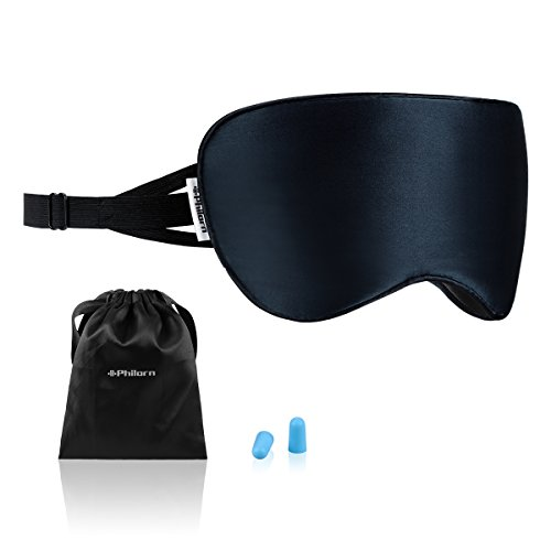 Philom zijden slaapmasker, 100% huidvriendelijk oogmasker, puur katoen gevulde slaapbril met anti-lawaai oordopjes, 3 rubberen bandjes, compleet donker tegen licht marineblauw