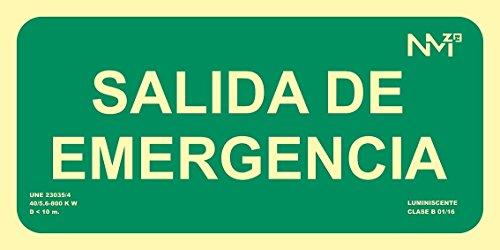 Normaluz RD13106 Señal Luminiscente Salida De Emergencia 15x30cm Clase B PVC 0,7mm Evacuación Homologada De Alta Calidad, Verde, 15x30 cm
