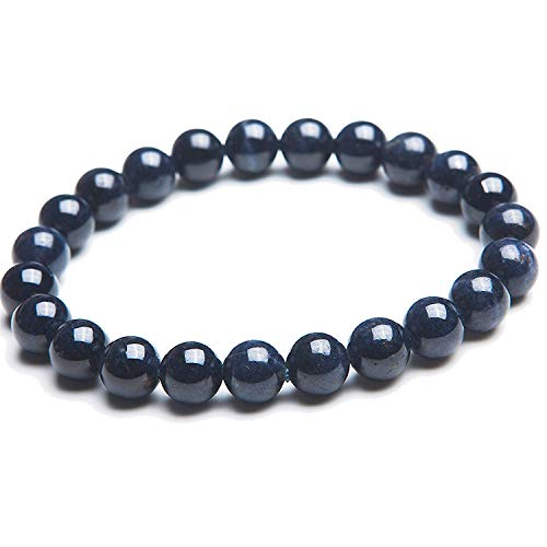 DUOVEKT Pulsera de zafiro natural de 8,5 mm para mujeres y hombres de cristal azul oscuro con piedras preciosas redondas AAAA