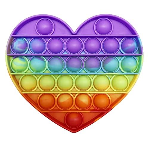 CRAZYCHIC - Pop It Fidget Toy - Popit Push Bubble Giocattolo Bambini Adulti - Gioco Antistress Rilassante Multicolore - Poppit Color Arcobaleno Ragazza Ragazzo - Cuore