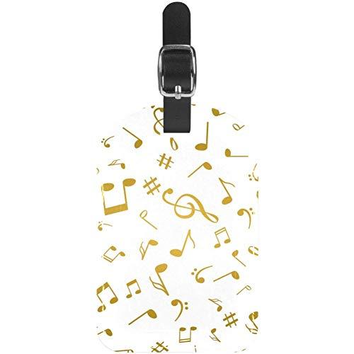 Etiquetas para Equipaje Notas Musicales Doradas Etiquetas para Maletas de Viaje de Cuero 1 Paquete