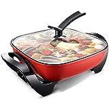 QIXIAOCYB Pote caliente eléctrico Enchufe de hogar en cocina eléctrica multifuncional, wok eléctrico, olla caliente eléctrica, 3 etapa Ajuste de temperatura, hoja de loto Non Stick Technology Wok