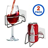 SYIDINZN Wine Glass Beer Cup Holder Shower Bath Tub Drink Caddy Organizer Portable Stainless Steel Coffee Drinks Relaxation Cupholder (Silver)
