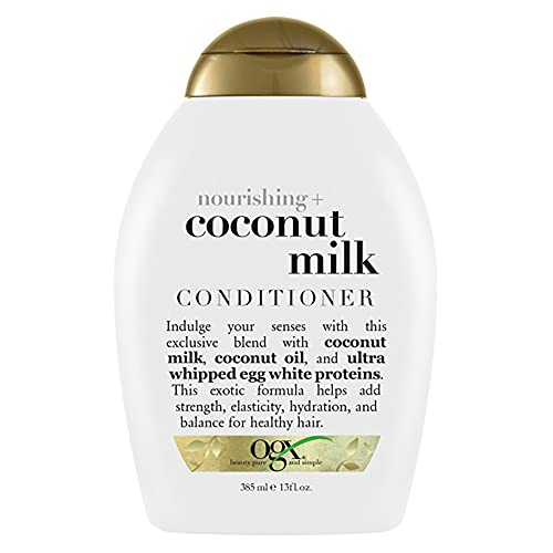 OGX Nourishing + Coconut Milk Moisturizing Conditioner for Strong & Healthy Hair, with Coconut Milk, Coconut Oil & Egg White Protein, Paraben-Free, Sulfate-Free Surfactants, 13 fl oz
