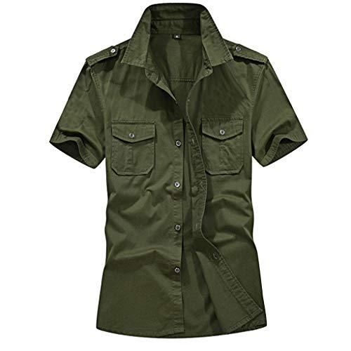 Lenfesh VêTements De Mode pour Hommes, Mode Hommes Casual Militaire Couleur Pure Poches Manches Courtes Tops LâChe