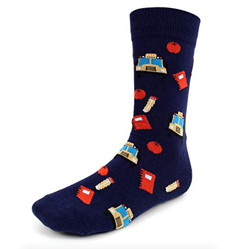 Urban-Peacock Men's Novelty Fun Crew Socks for Dress or Casual - Multiple Patterns/Multi-Pair Options (School Time - Navy, 1 Pair)