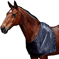 Fits over the horse's head Helps to prevent rug rub Satin outer and loop to secure to help prevent slipping