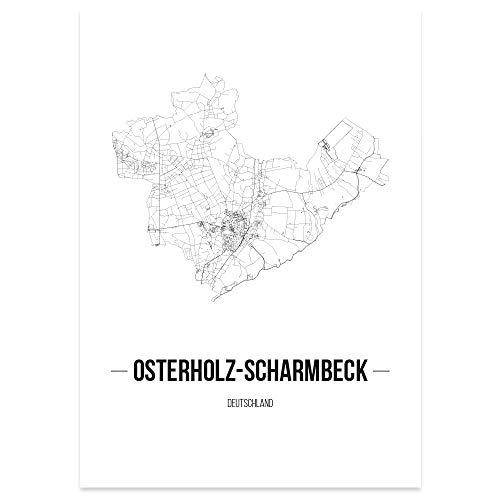 JUNIWORDS Stadtposter, Osterholz-Scharmbeck, Wähle eine Größe, 21 x 30 cm, Poster, Schrift B, Weiß