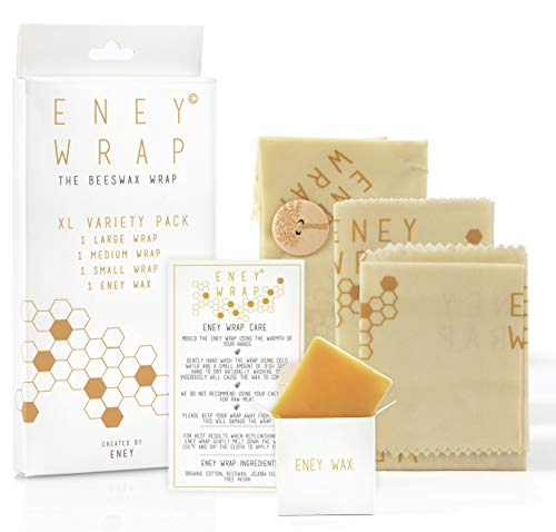 ENEY Premium Organic Beeswax Food Wrap | Honeycomb Print | Reusable Food Wrap | No Synthetic Wax or Chemicals | Extra Large Set | 1 Large, 1 Medium, 1 Small and 1 Original ENEY Wax Replenisher