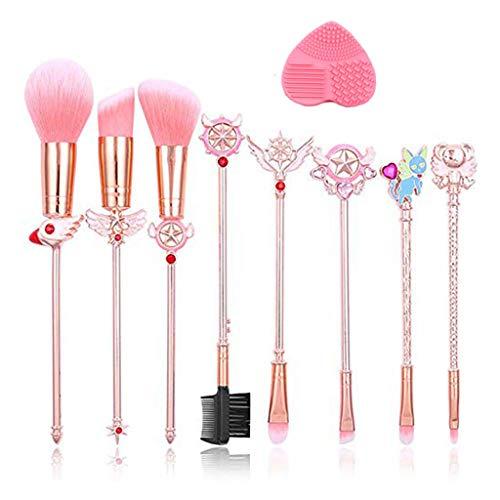 boogift 8 Pcs Set Maquillaje Sailor Moon, Gold Cardcaptor Sakura Sailor Moon Brand Pinceles de Maquillaje Set Cosmetic Powder Foundation Cepillo de Sombra de Ojos Herramienta de Maquillaje (A)