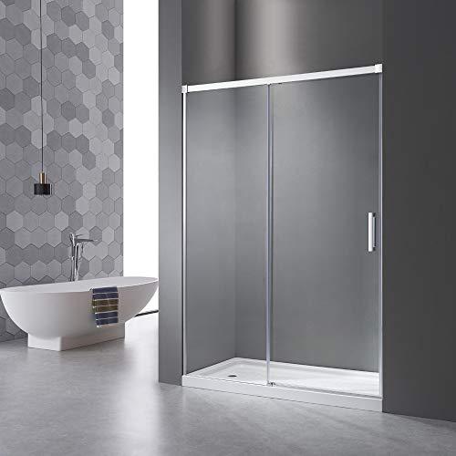 Nischentür Dusche 130cm,Einstellbereich von 125-130 cm, Schiebetür Duschkabine mit Türöffnersystem, ohne unteres Aluminiumprofil, 6mm Nano ESG Glas, Höhe:195cm.